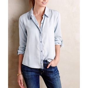 Anthropologie Lace Chambray Button Up Blouse